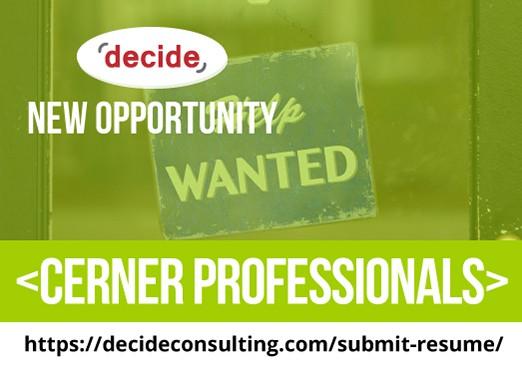 Decide Consulting Hiring Cerner Professionals