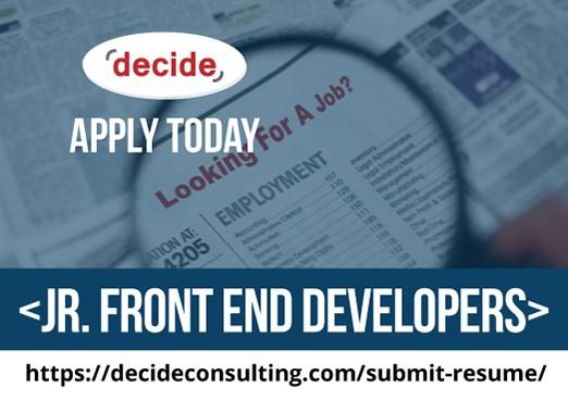 We're hiring Jr. Front End Developers